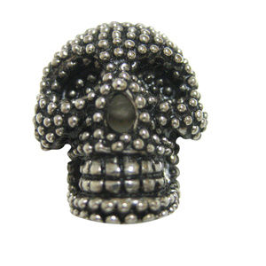 Black and Silver Toned Textured Skull Head Magnet